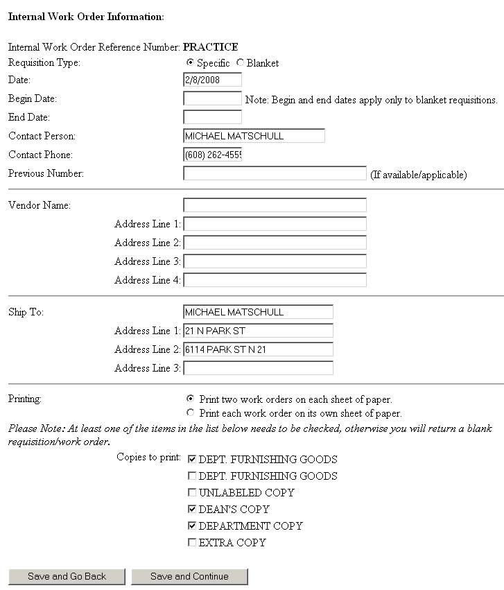 internal work order template